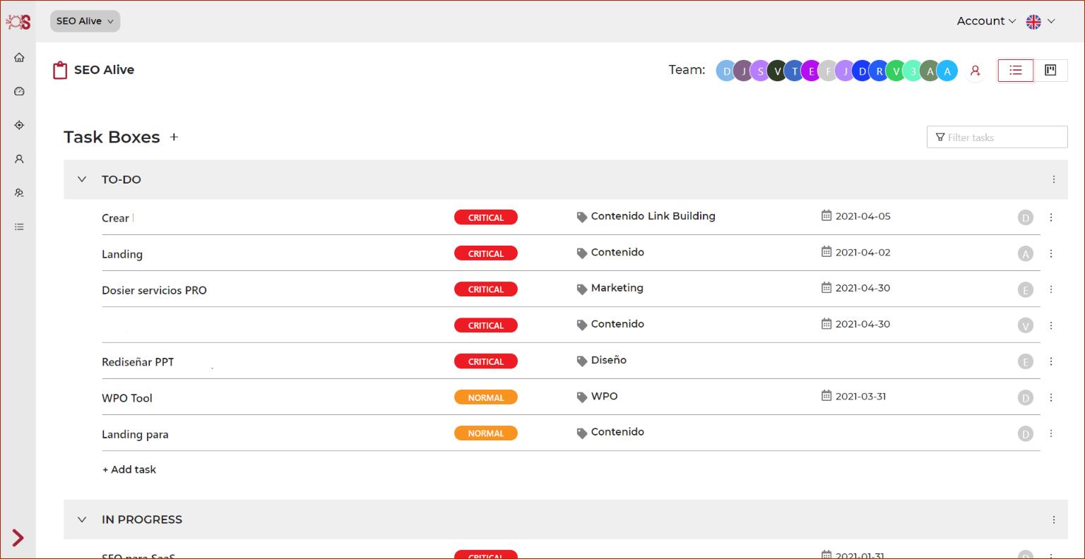 Organizador de Tareas SEO en formato lista