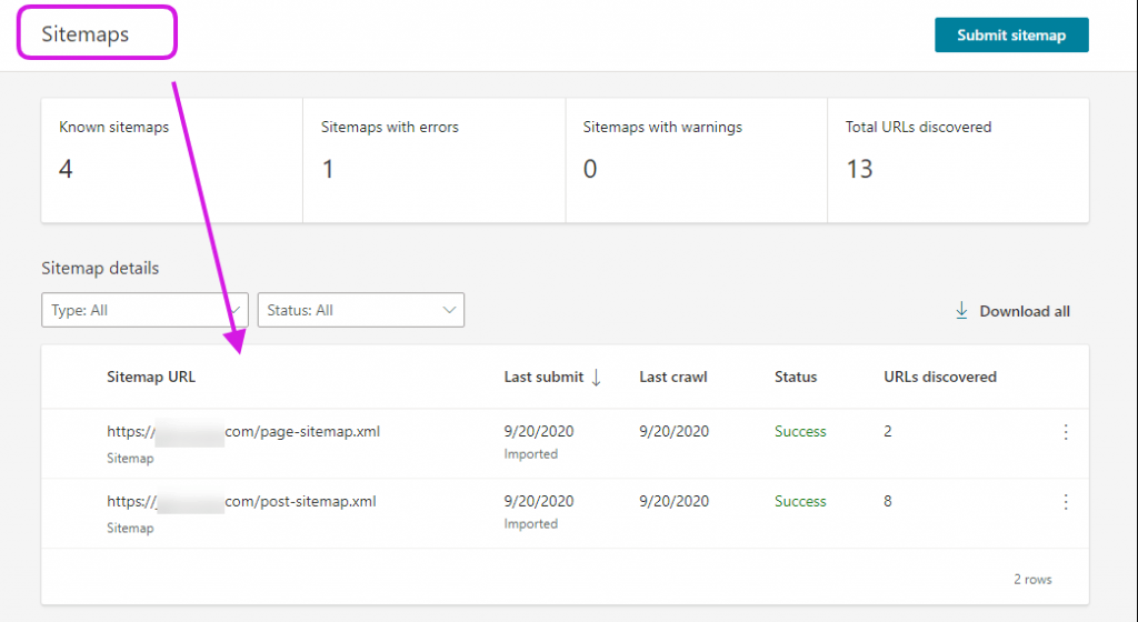 Submited sitemaps in Bing Webmaster Tools