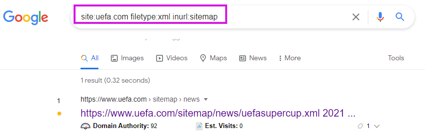 Operator inurl to find sitemaps