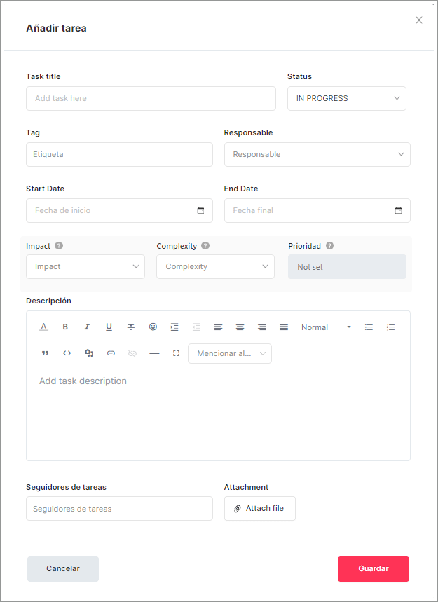 Rediseño de la función Añadir tarea en SEOcrawl