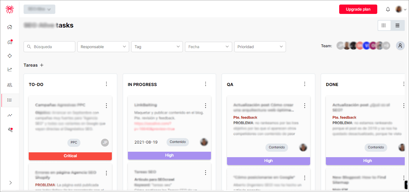 Dashboard de tareas de SEOcrawl