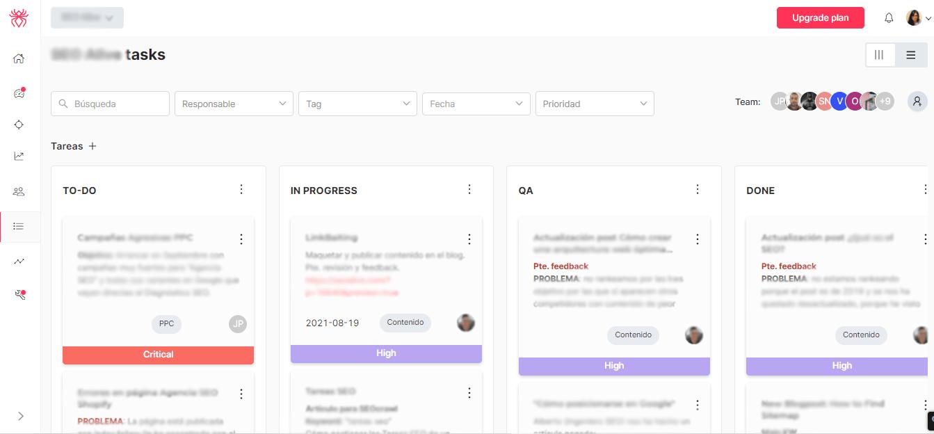 SEOcrawl task dashboard