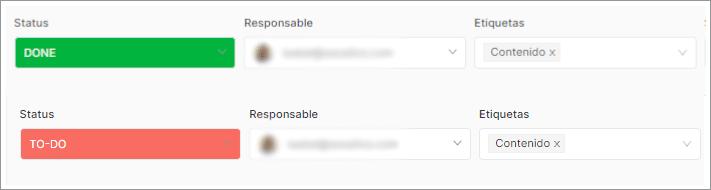 Etiquetas de color en los status detareas de SEOcrawl