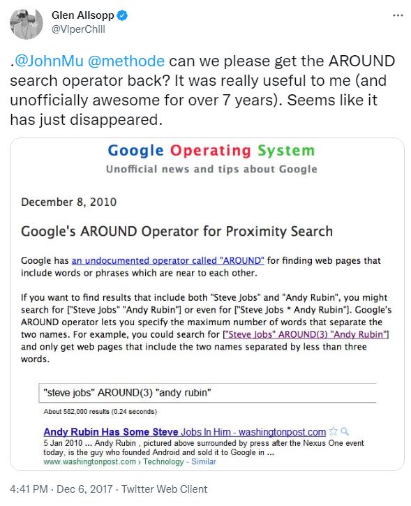 deprecated search operators (around)