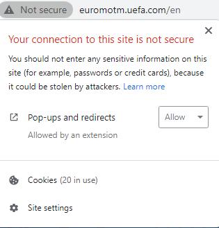 uefa non secure webite