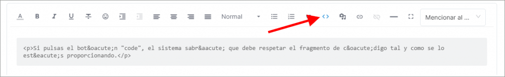 Botón code en el gestor de tareas